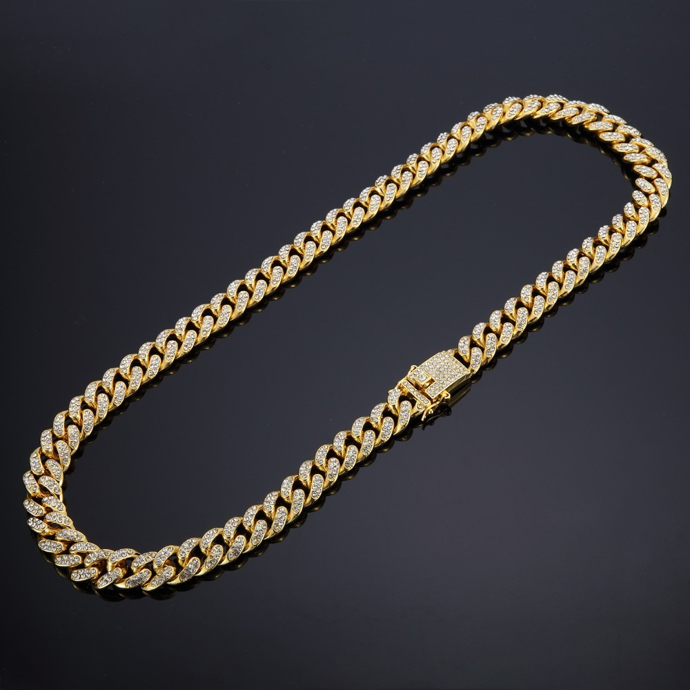 2018 Hip Hop Iced Out Bling Full Paved Rhinstones Chain