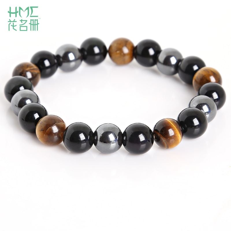 Tiger Eye Hemae Black Obsidian 10mm Stone Bracelet Jewelry For Men