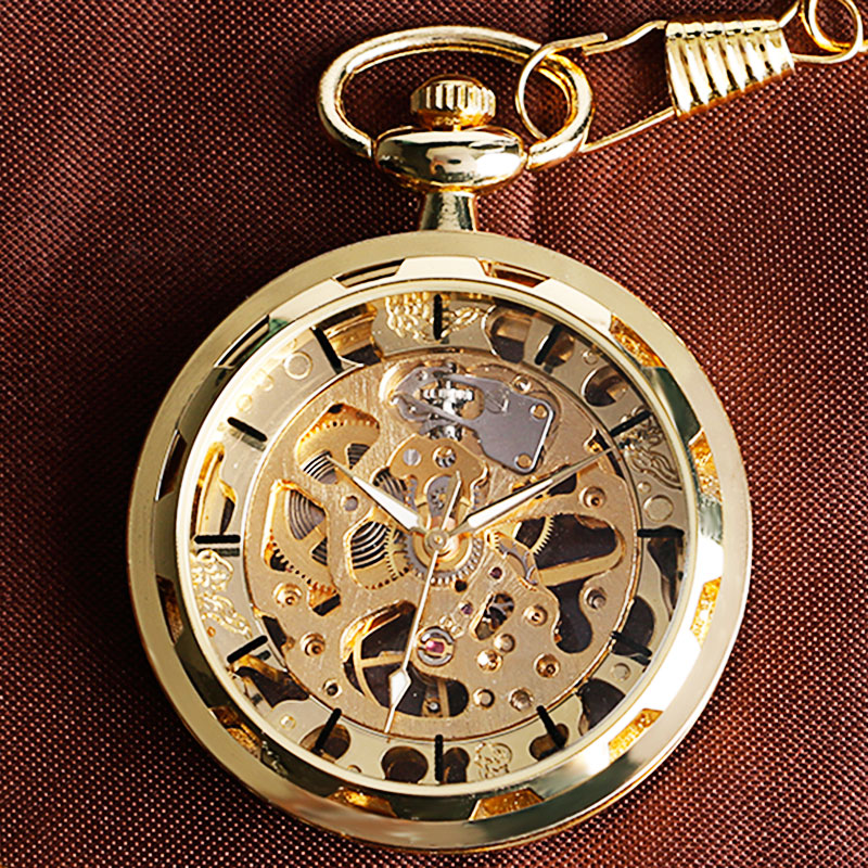Vintage skeleton dial mechanical pocket watch in gold c s for Classic skeleton watch