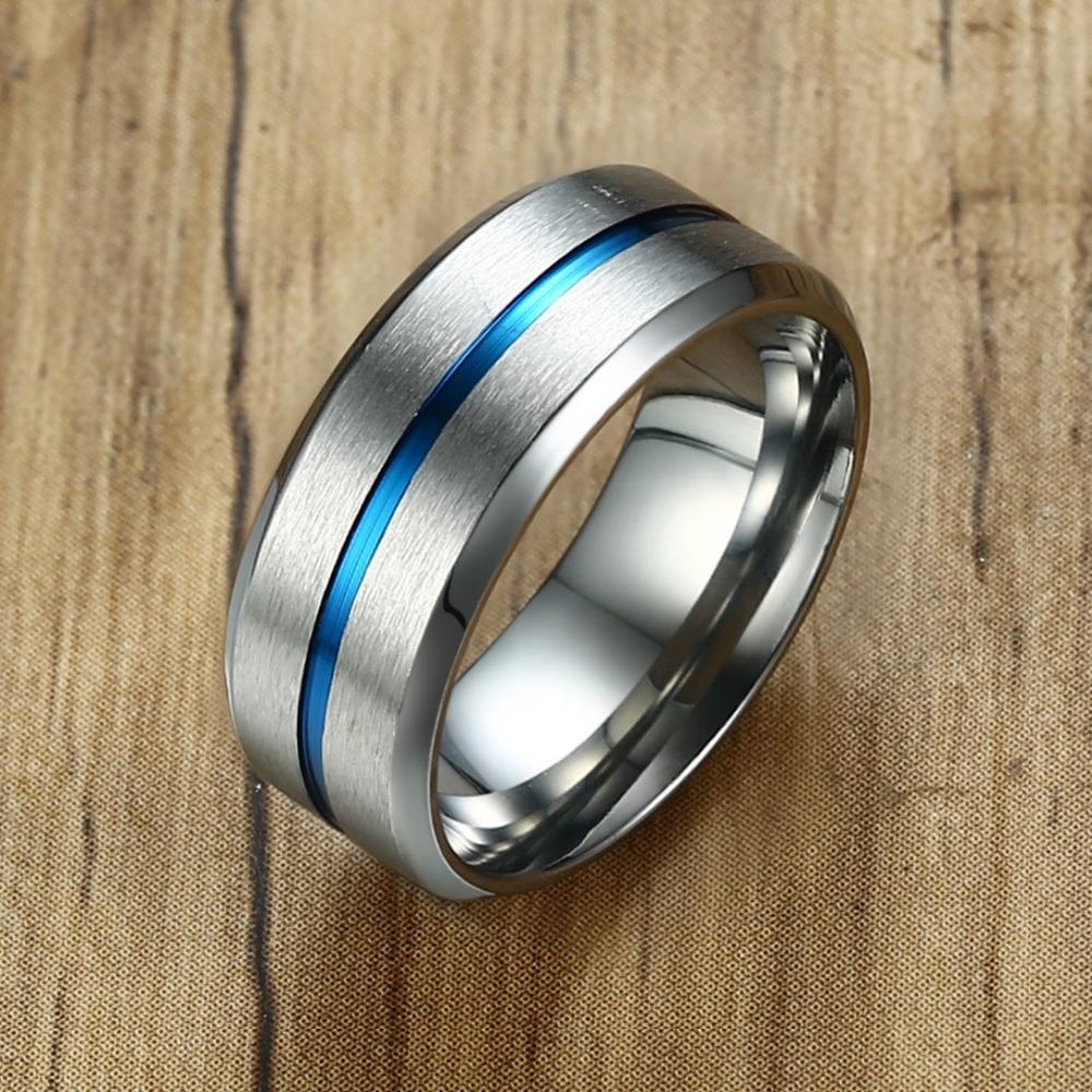 Men's Basic 8mm Wedding Brand Ring Stylish Thin Blue Line ...